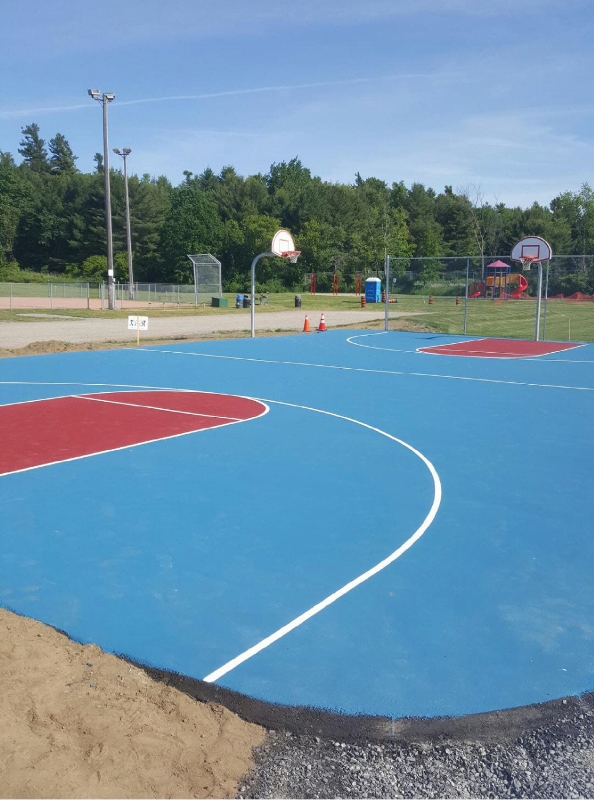 Basketball court blue and red 594x800